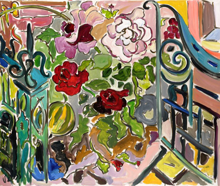 'Garden Gate and Melons' oil on canvas 35x42 inches