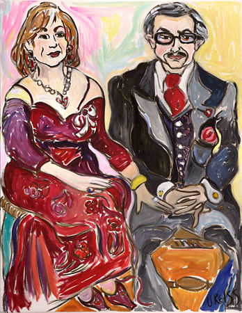 'Helen and George Vari' oil on canvas 42x54 inches