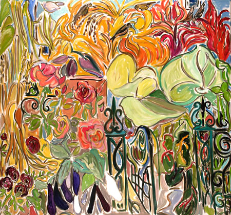 9. Artist's Garden Triptic 'Taro, Plantain, Maize and Amarynth II' oil on canvas 64x68 inches